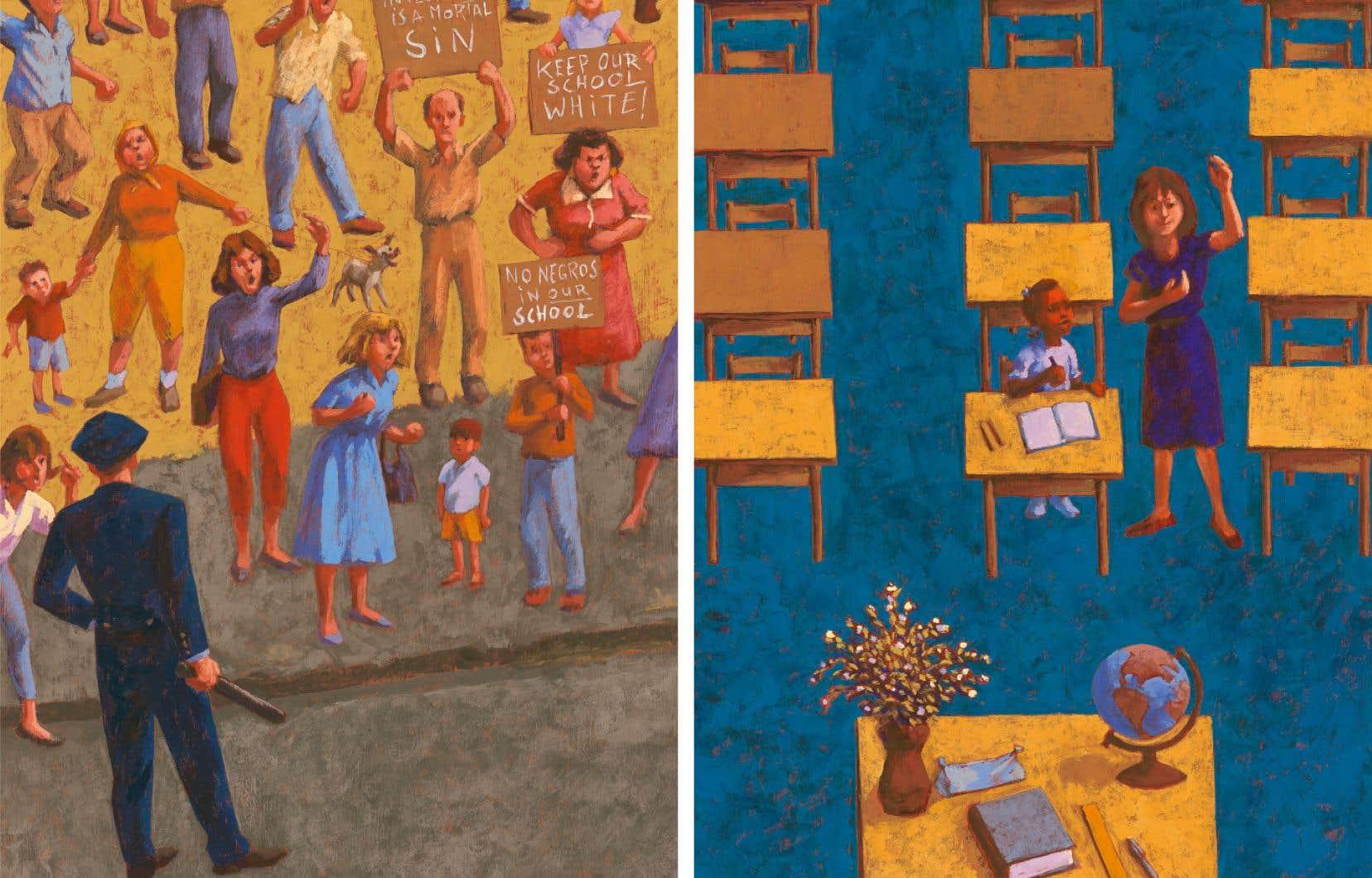 Respectant le style hyperréaliste de Norman Rockwell, l'illustrateur Marc Daniau joue de contrastes profonds entre les couleurs, explore les perspectives qui ajoutent à l'évocation.