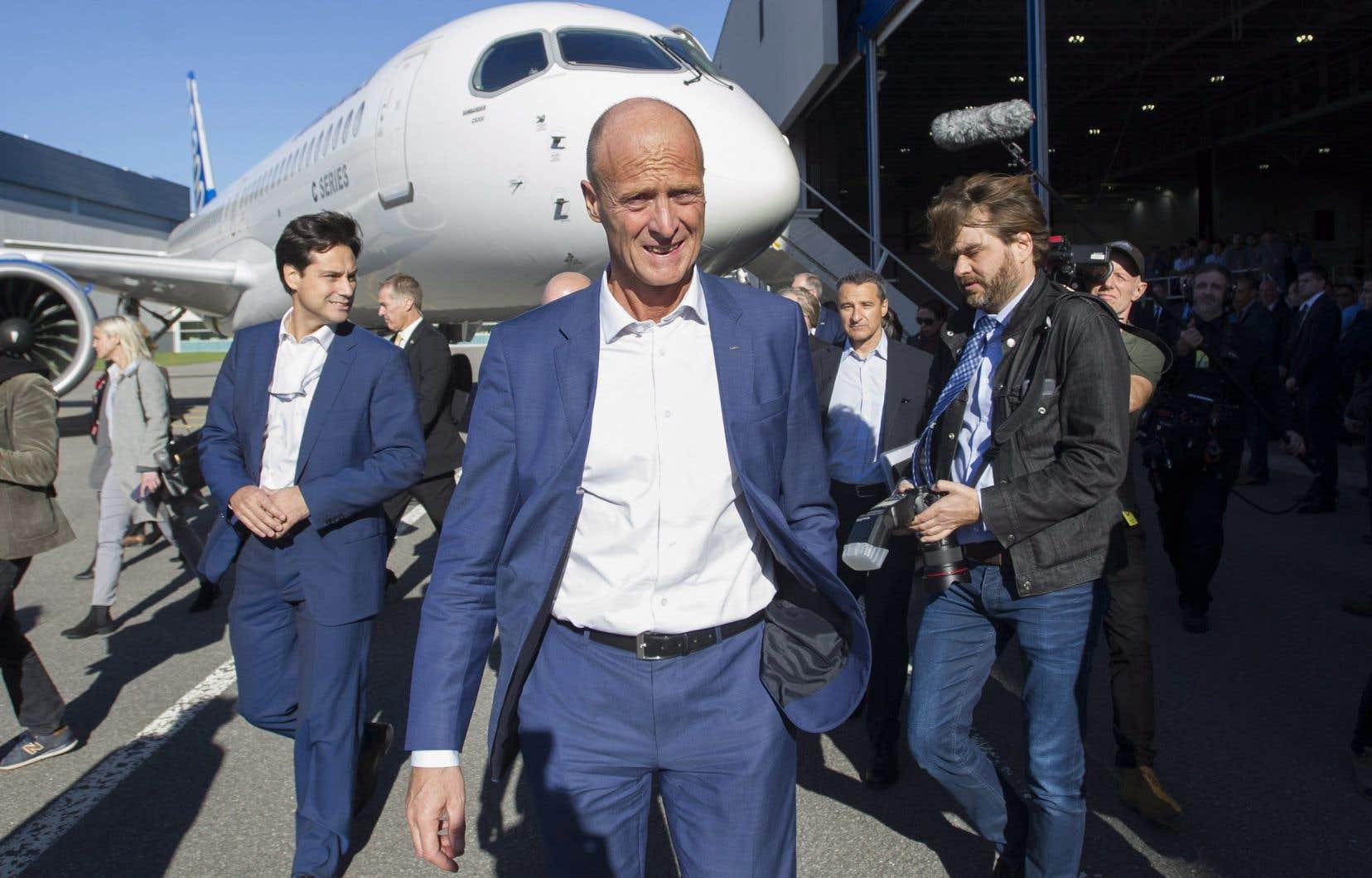 Le président-directeur général d'Airbus, Tom Enders, s'est voulu rassurant sur l'avenir du programme et de l'assemblage de l'appareil à Mirabel.