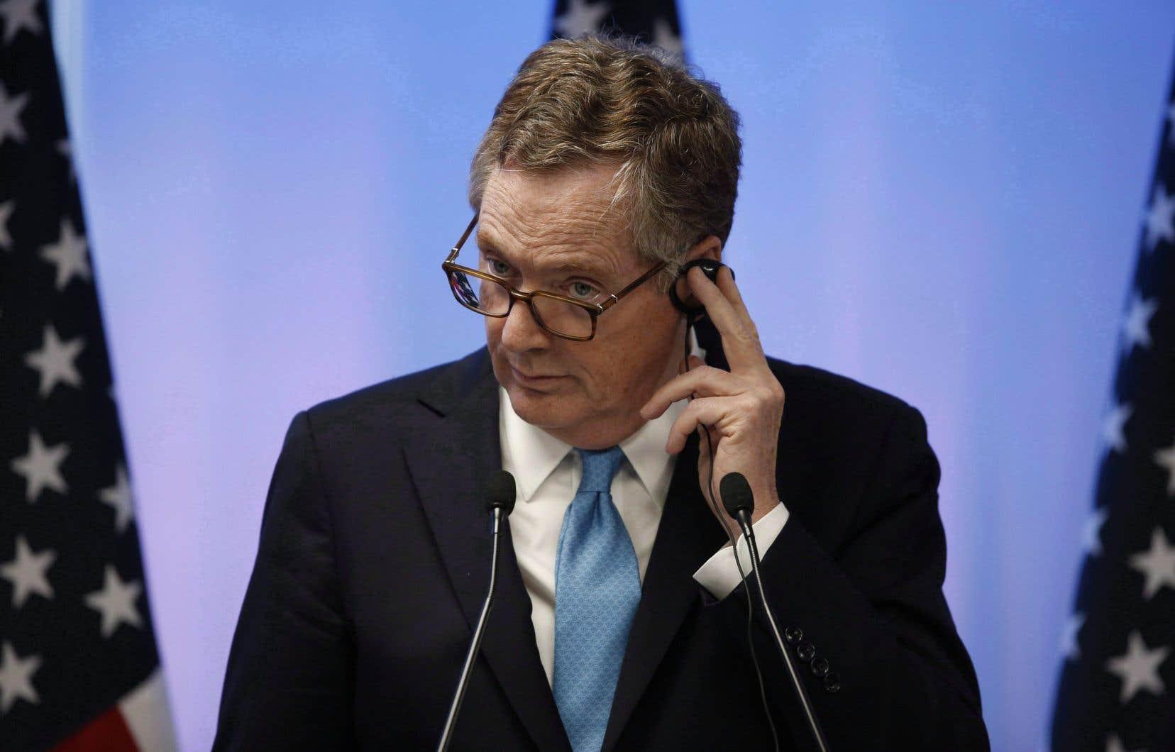 Le représentant américain au Commerce et responsable des négociations pour un renouvellement de l'ALENA, Robert Lighthizer