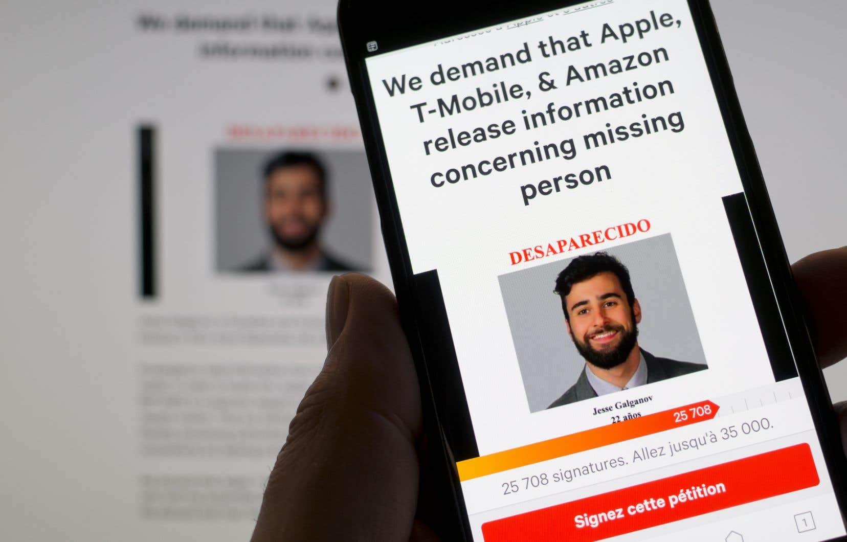 La pétition, publiée sur le site change.org, indique que les enquêteurs ont besoin d'information se trouvant dans son iPhone et dans sa liseuse Kindle pour pouvoir le retrouver.