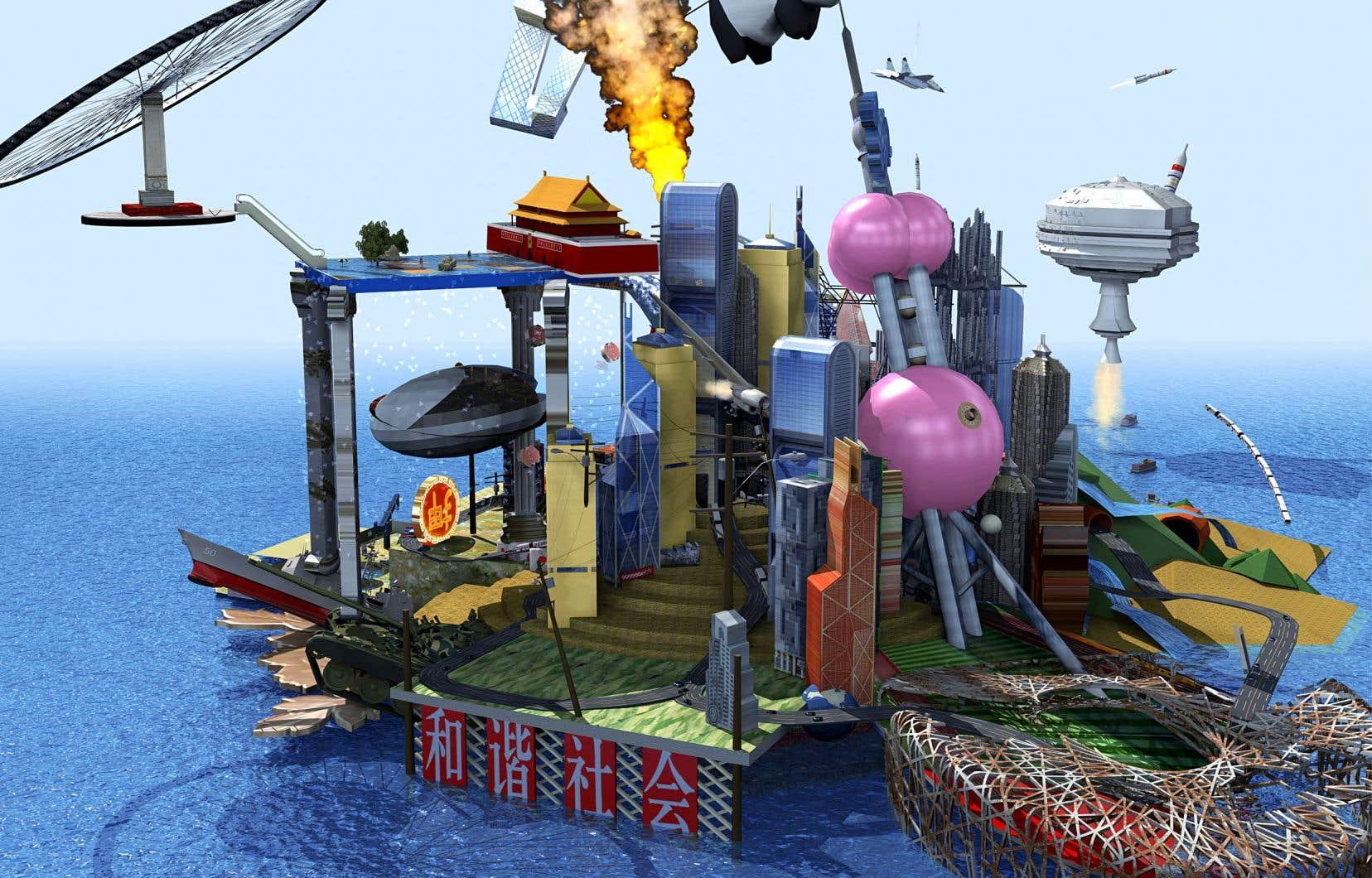 L'artiste basée à Pékin Cao Fei, une habituée du circuit international de l'art, présente «RMB City: A Second Life City Planning by China Tracy (aka: Cao Fei)», 2007. La vidéo imagine un microcosme de la Chine urbaine en guise d'utopie critique au «monde de rêve» annoncé par les JO de 2008.