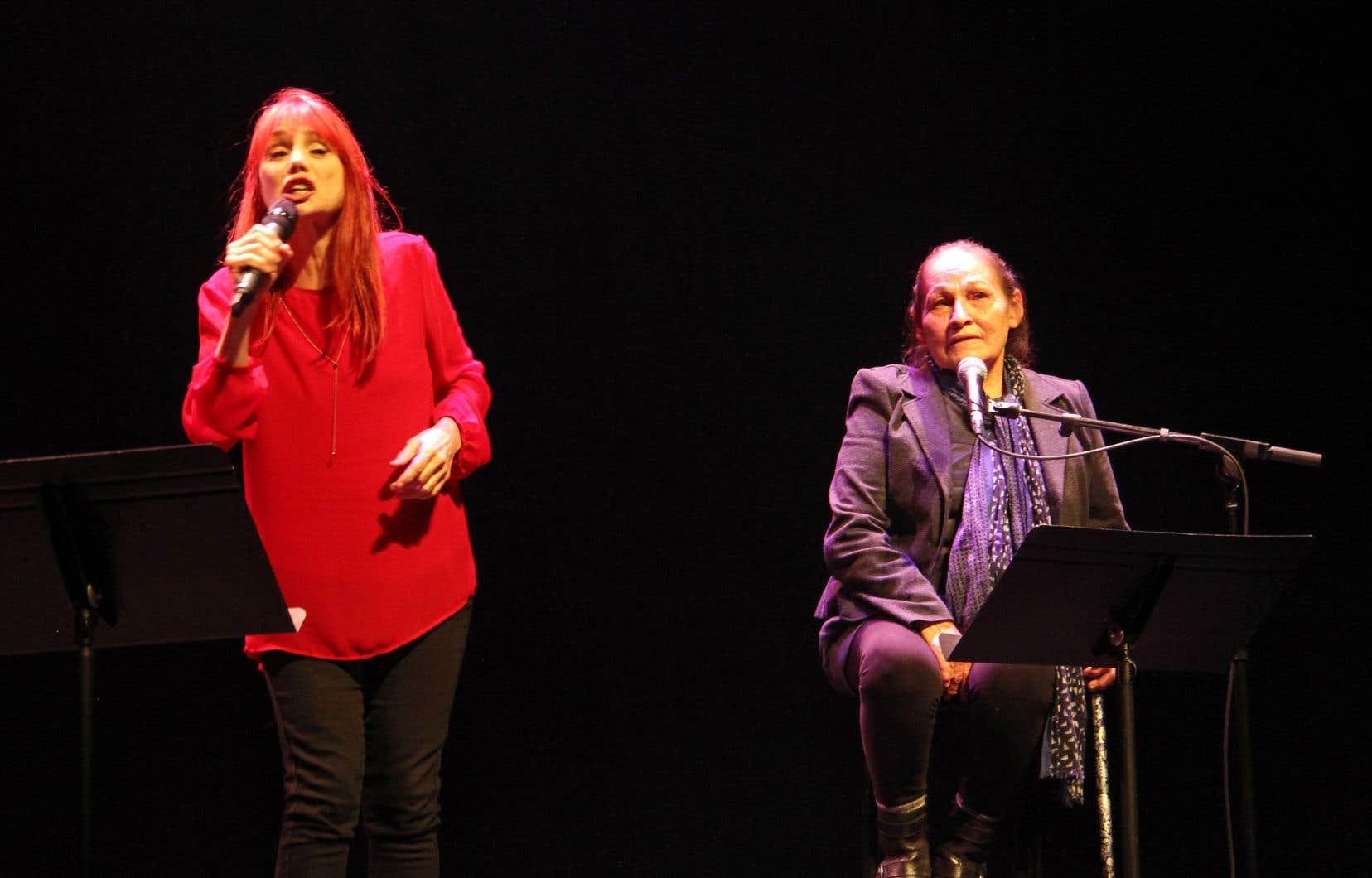 Chloé Sainte-Marie et Joséphine Bacon, co-porte-parole du festival, revisiteront sur la scène de l'auditorium de la Grande Bibliothèque leur «Dialogue entre deux