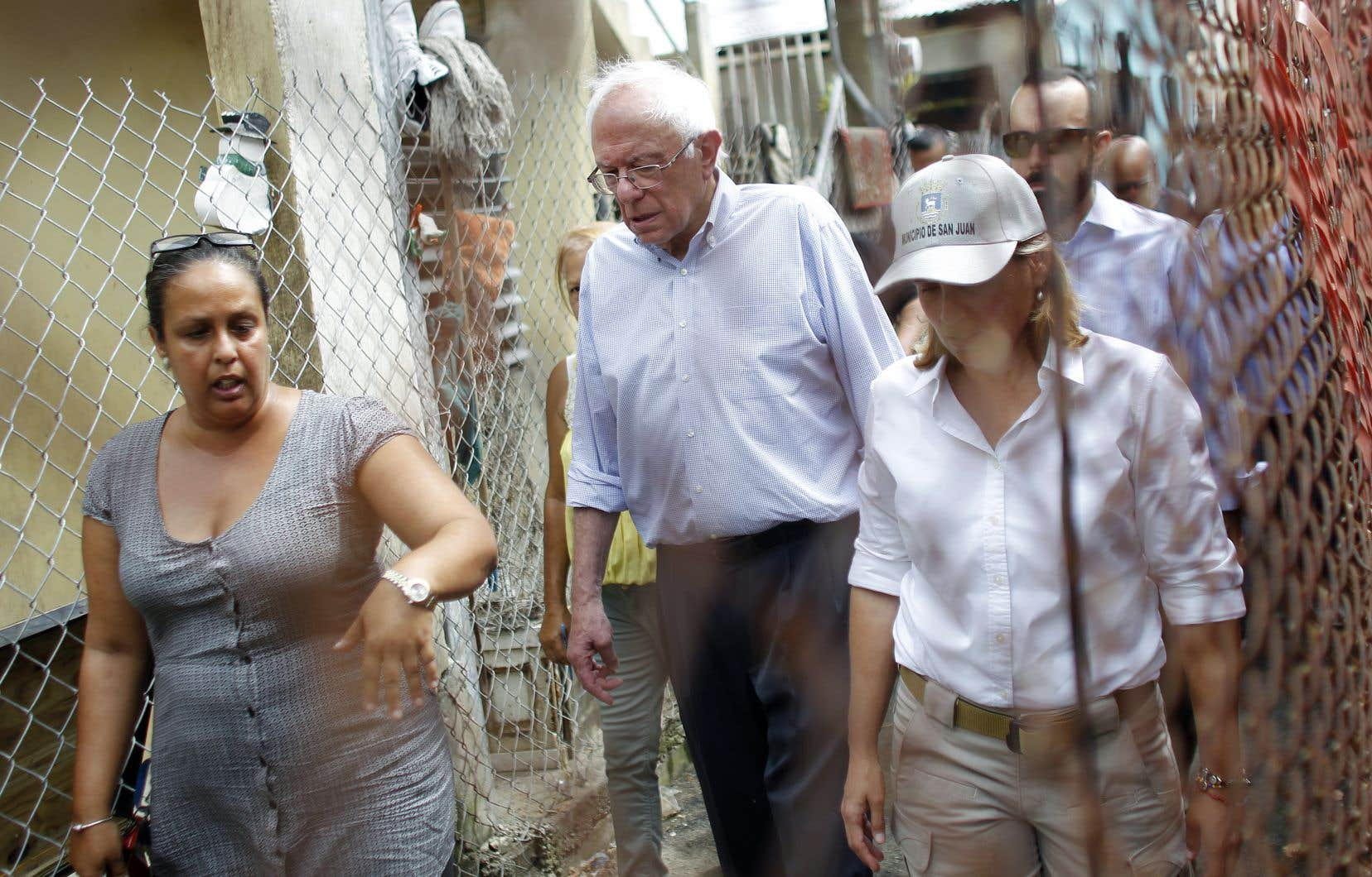 Le sénateur du Vermont, Bernie Sanders, était de passage à San Juan pour constater l'ampleur des dégâts laissés par le passage de l'ouragan «Maria», le 27 octobre.