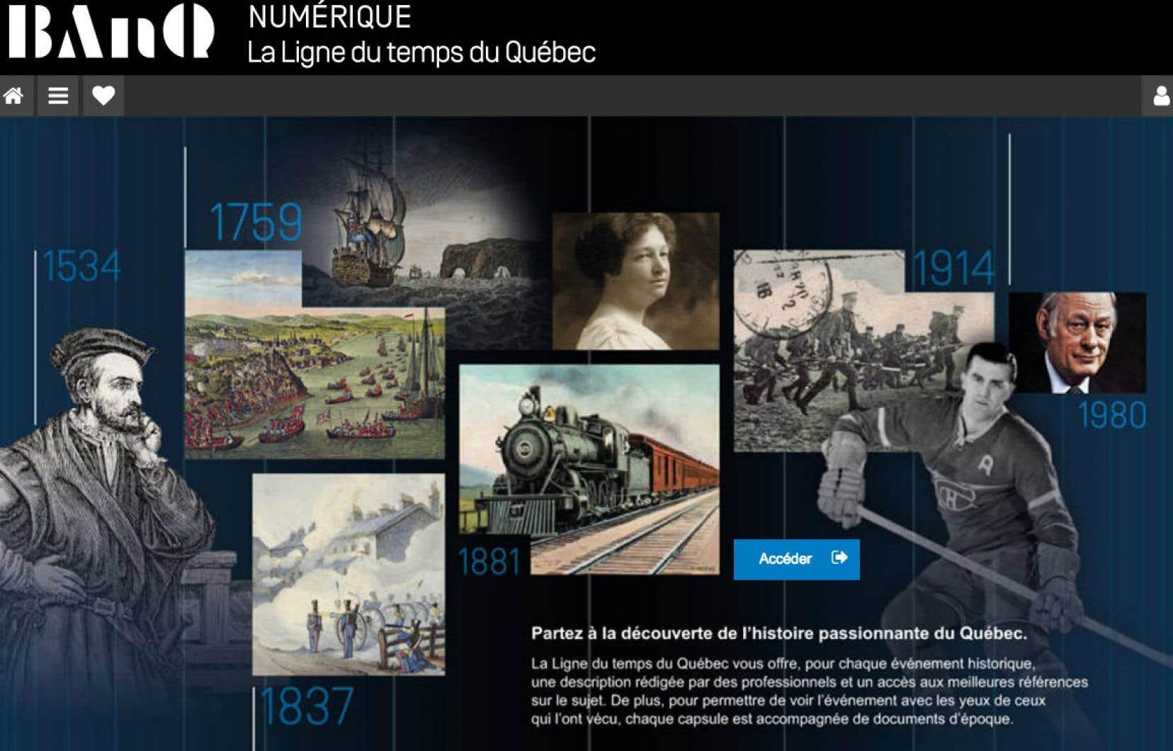 Bibliothèque et Archives nationales du Québec a utilisé la technologie numérique pour mettre en ligne 300 capsules qui permettent de visiter l'histoire du Québec.