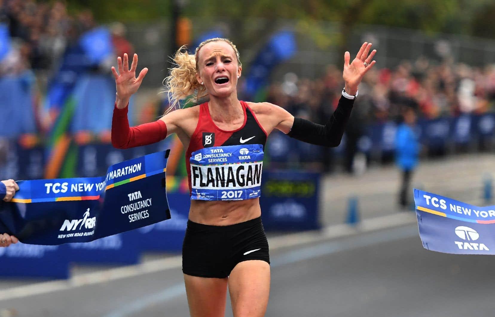 L'Américaine Shalane Flanagan a remporté l'épreuve féminine du marathon de New York dimanche.