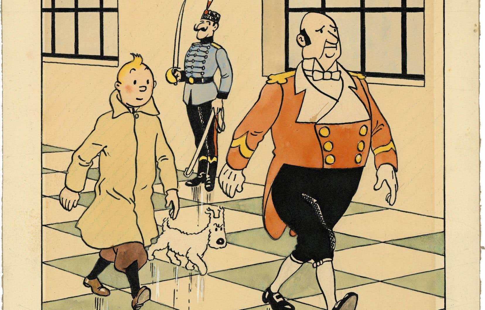 Un dessin en couleur signé Hergé pour la couverture du journal «Le Petit Vingtième» publié le 14 février 1939