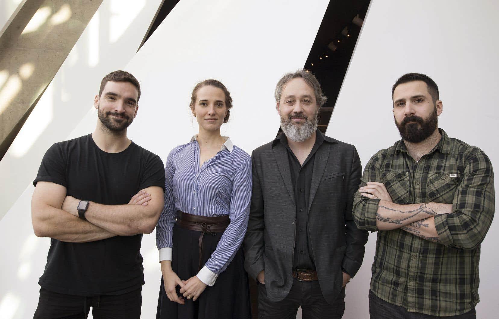 Quatre des cinq finalistes (de gauche à droite): Jean-Philippe Baril Guérard, Audrée Wilhelmy, Jean-François Caron et Stéphane Larue. Abia Farhoud était absente du dévoilement.