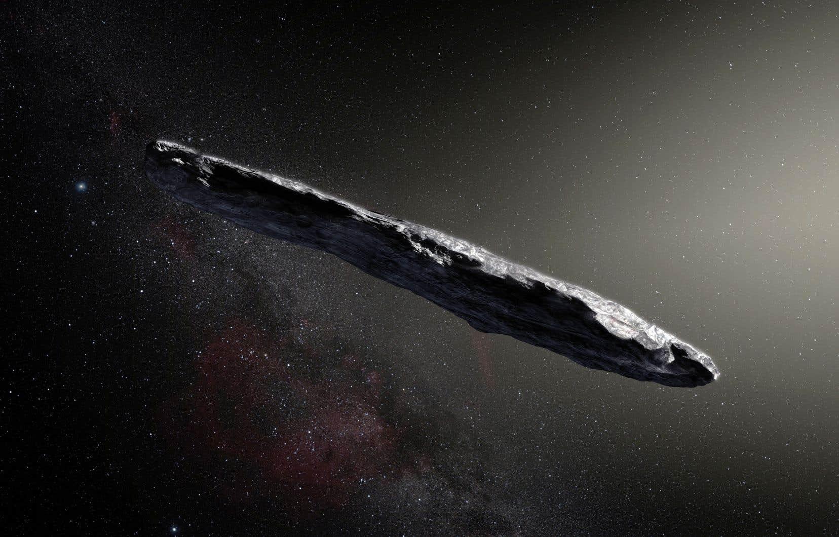 Rendu artistique de l'astéroïde «Oumuamua», qui est passé dans l'orbite de Mars vers le 1er novembre.