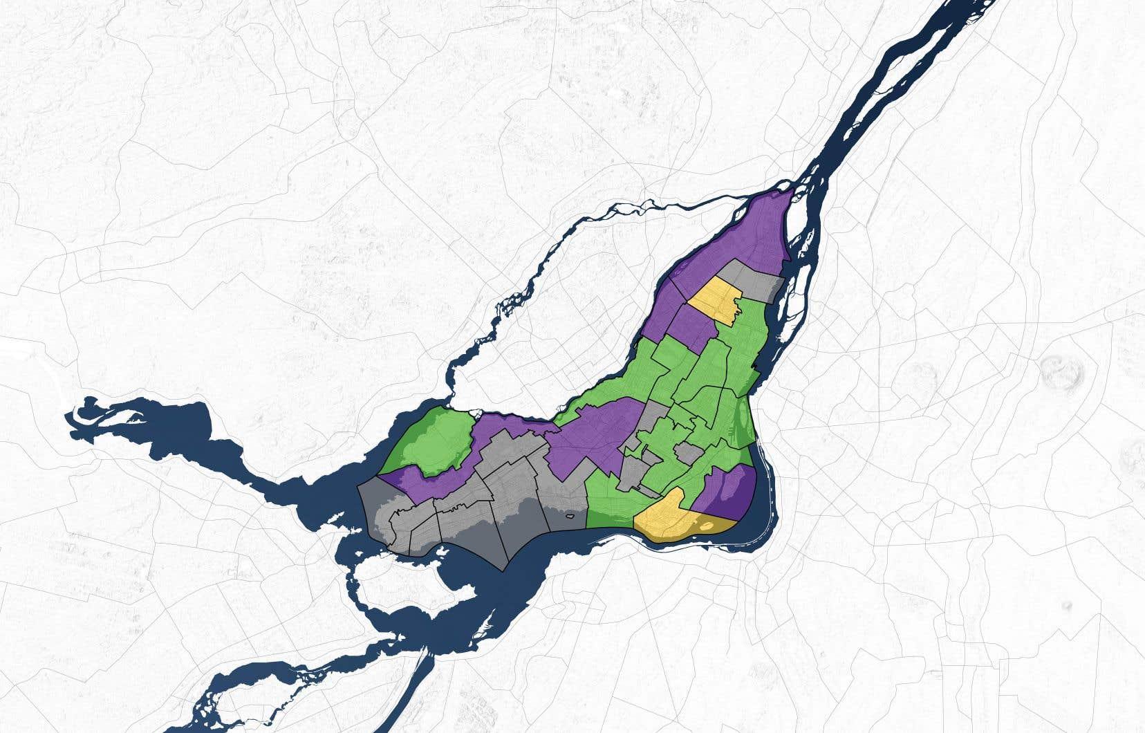 Montréal au lendemain des élections du 5novembre dernier. En mauve, les arrondissements remportés par l'Équipe Denis Coderre; en vert, ceux où la victoire est allée à Projet Montréal.