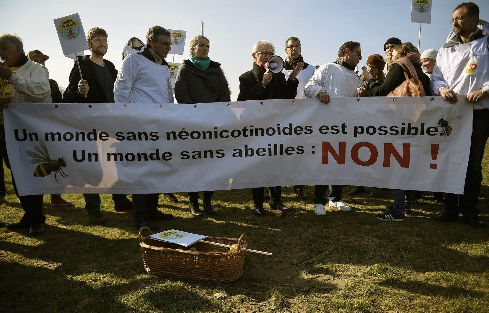 La lutte contre les pesticides néonicotinoïdes fait rage dans plusieurs pays. En France, les manifestations ont mené à un bannissement complet à compter de 2020.
