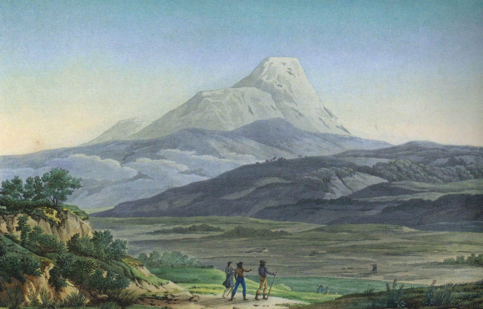 Humboldt et ses compagnons au Cayambe, un volcan des environs de Quito