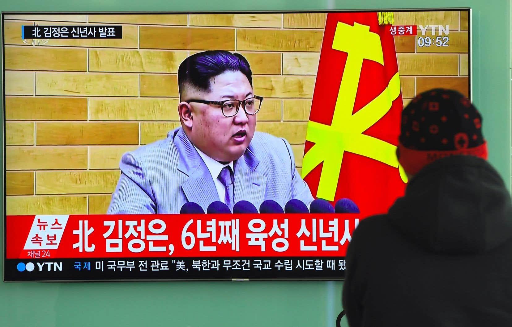 Le message télévisé de Nouvel An dunuméro un Nord-Coréen, Kim Jong-un