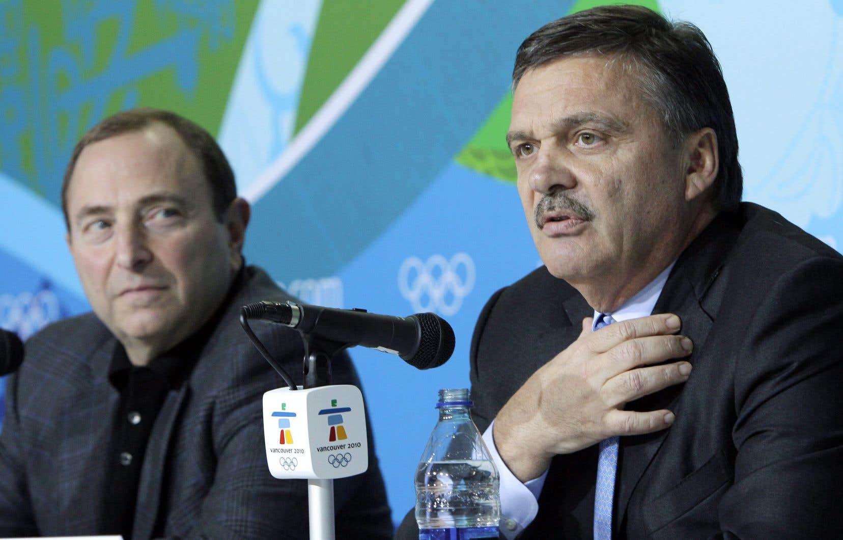 Le président de la Fédération internationale de hockey sur glace, René Fasel