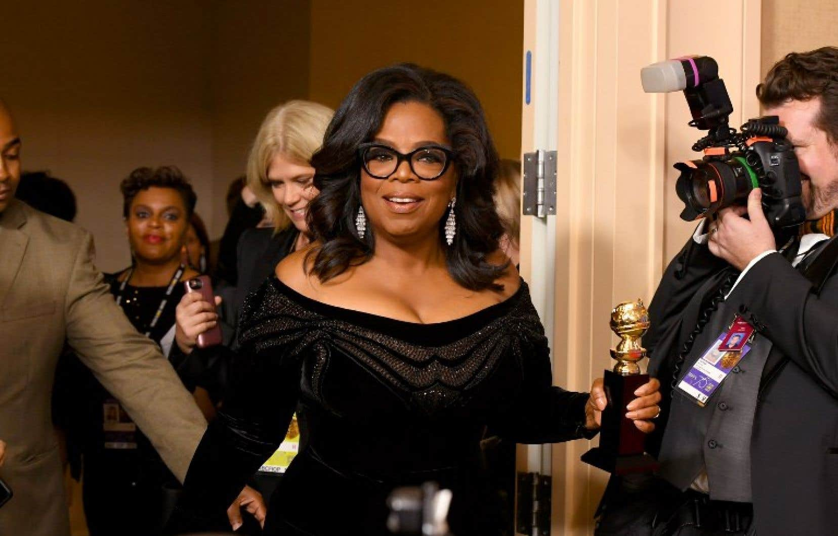La célèbre présentatrice américaine Oprah Winfrey lors de la cérémonie des Golden Globes