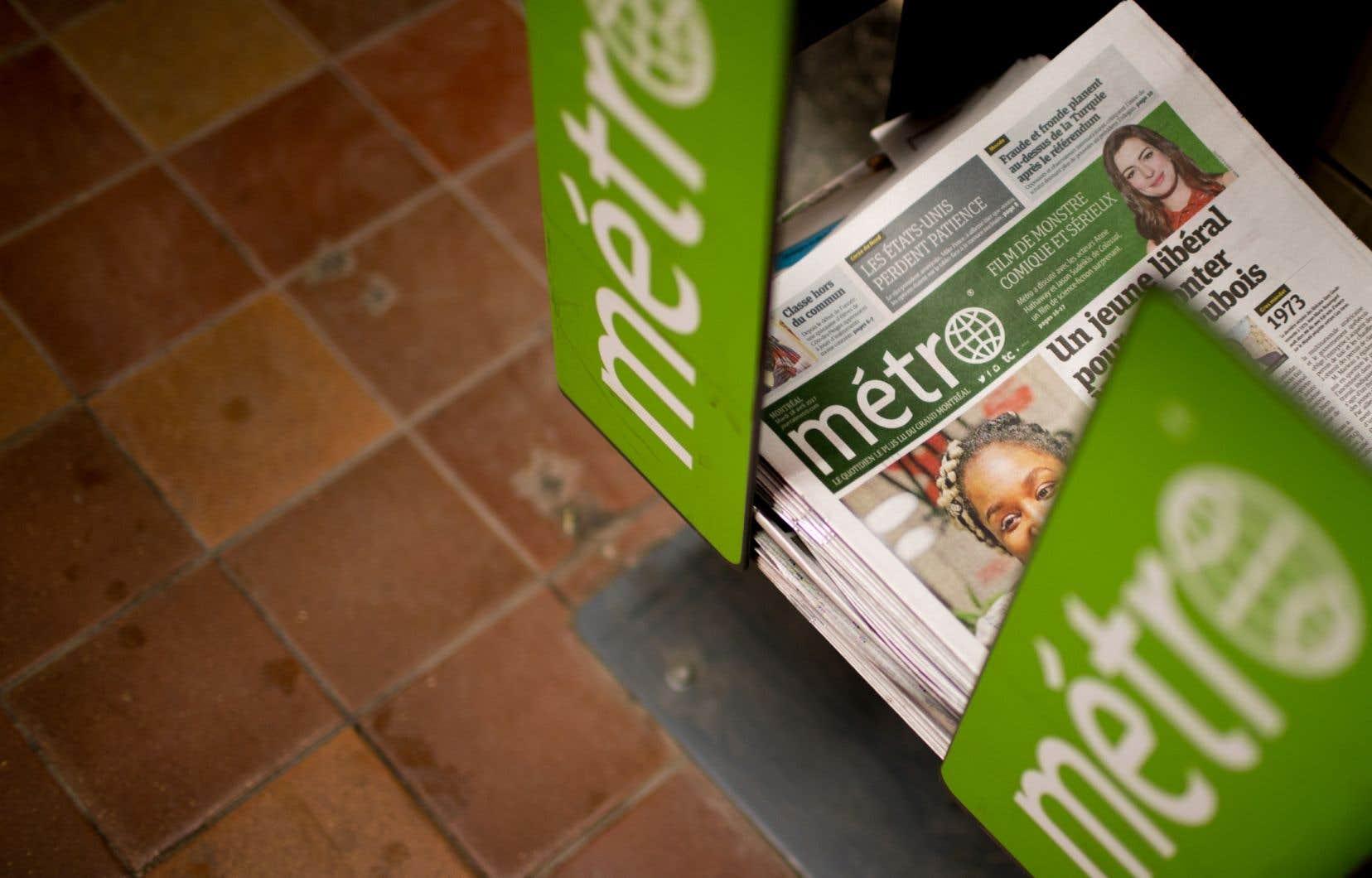 «Métro», comme tous les journaux du Québec et de l'Ontario de Transcontinental et de sa filiale TC Media, est en vente depuis avril dernier.