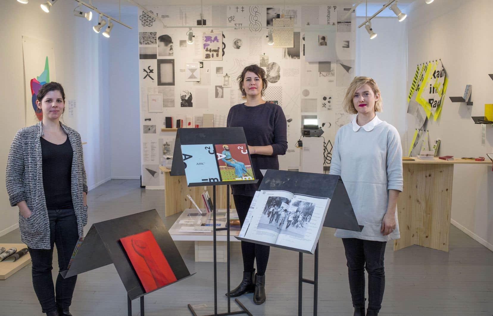 La directrice générale d'Arprim, Emmanuelle Choquette, la designer Marie Tourigny et l'éditrice Catherine Métayer, fondatrices de Collectif blanc