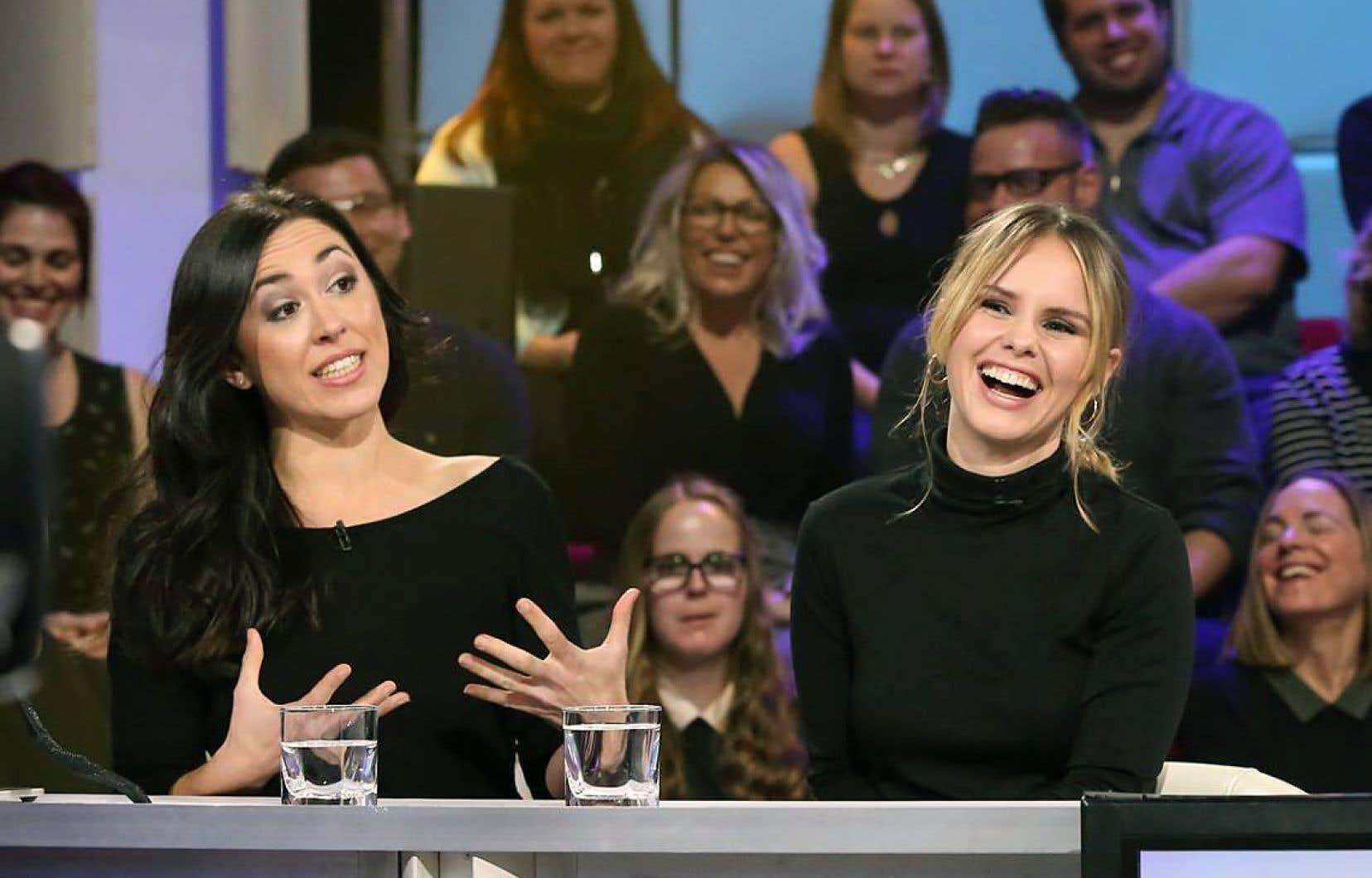 Aurélie Lanctôt et Léa Clermont-Dionà l'émission «Tout le monde en parle» dimanche soir.