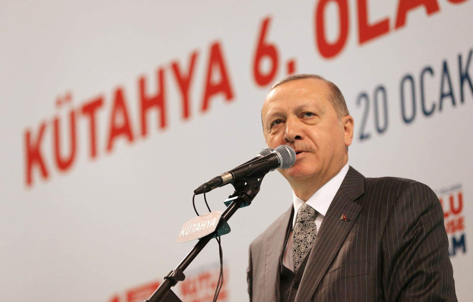 Le président turc, Recep Tayyip Erdogan, samedi à Kutahya