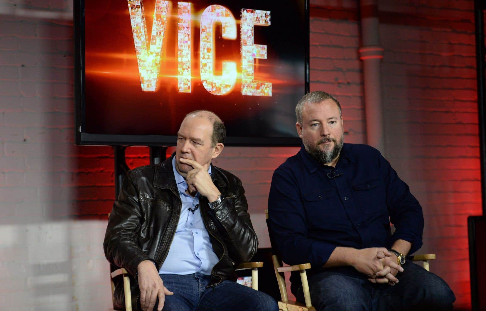 Le chef de la direction de Rogers, Guy Laurence (gauche), et le cofondateur de Vice Media, Shane Smith
