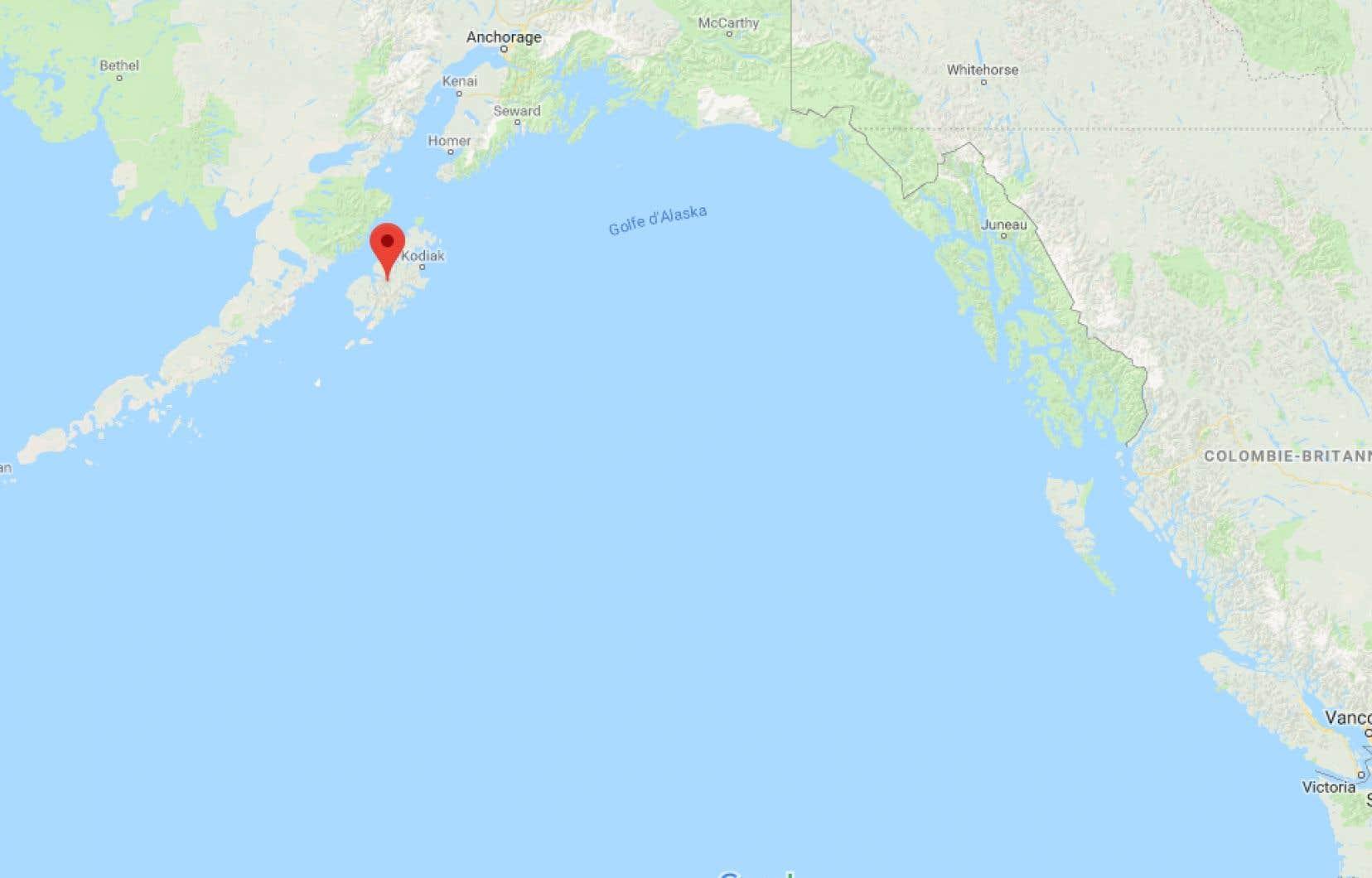 <p>Le tremblement de terre s'est produit au large de l'île Kodiak, en Alaska.</p>