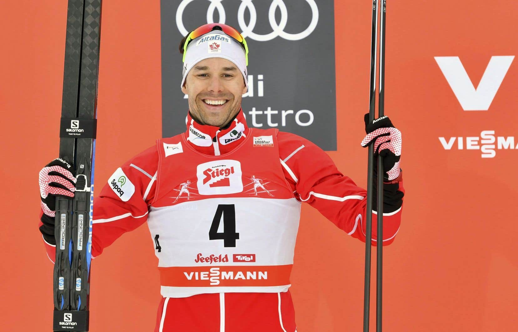 Le Québécois a terminé à 1,4 seconde du vainqueur suisse, Dario Cologna.