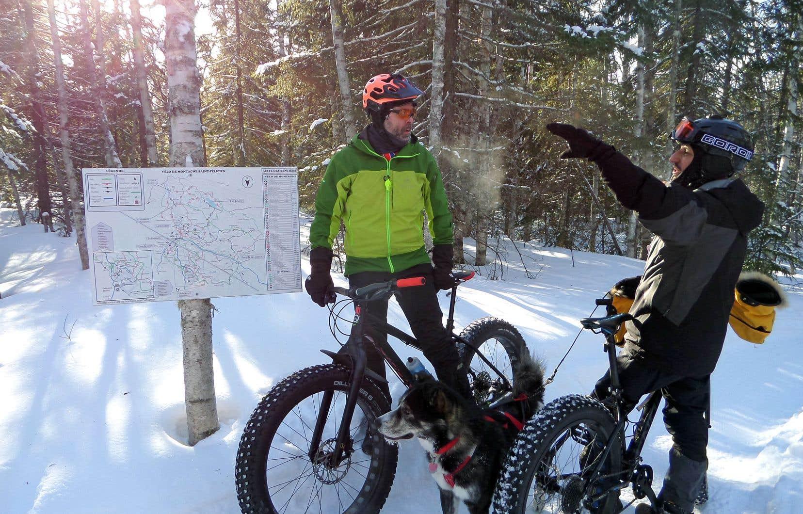 Au club Tobo-Ski de Saint-Félicien, on trouve un réseau de 27kilomètres réservés au vélo joufflu.