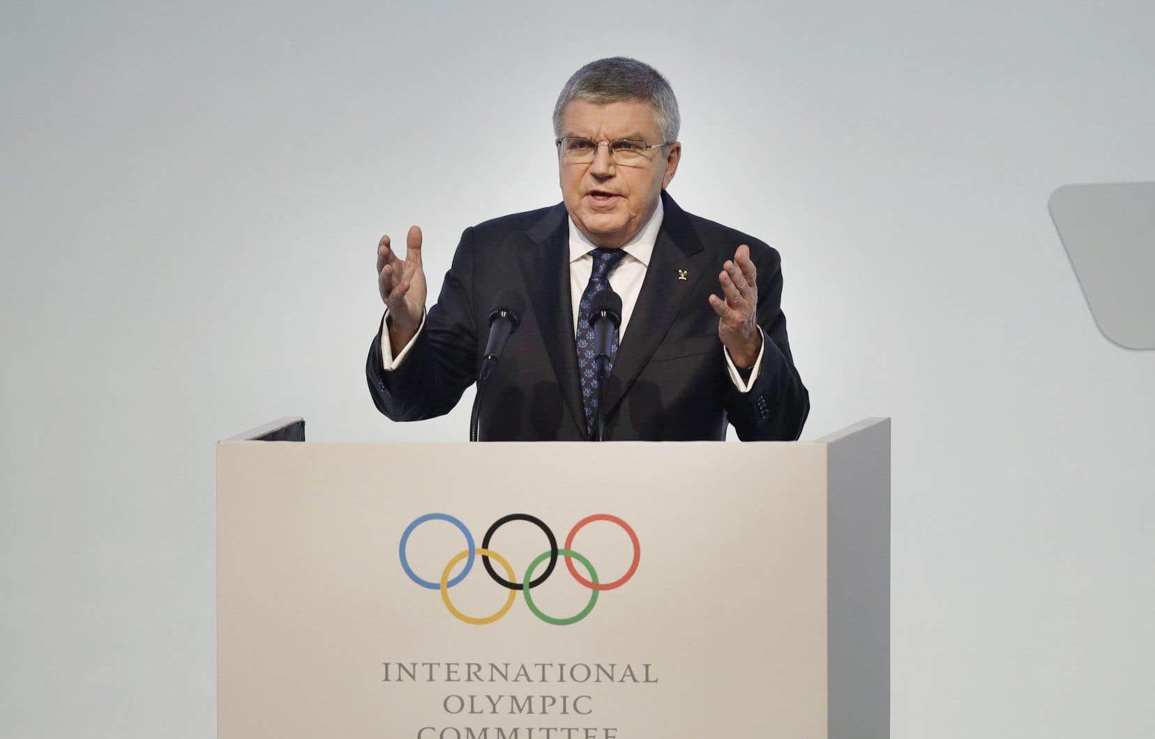 Le président Thomas Bach a ouvert la 132esession du Comité international olympique, lundi, à Gangneung, en Corée du Sud.
