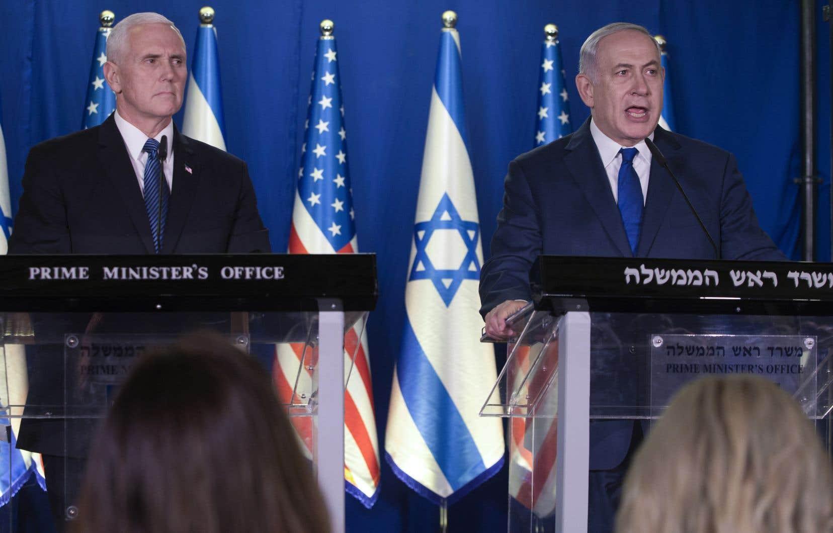 Le vice-président américain Mike Pence en conférence de presse aux côtés du premier ministre israélien Benjamin Néthanyahou, lors de visite à Jérusalem en janvier dernier