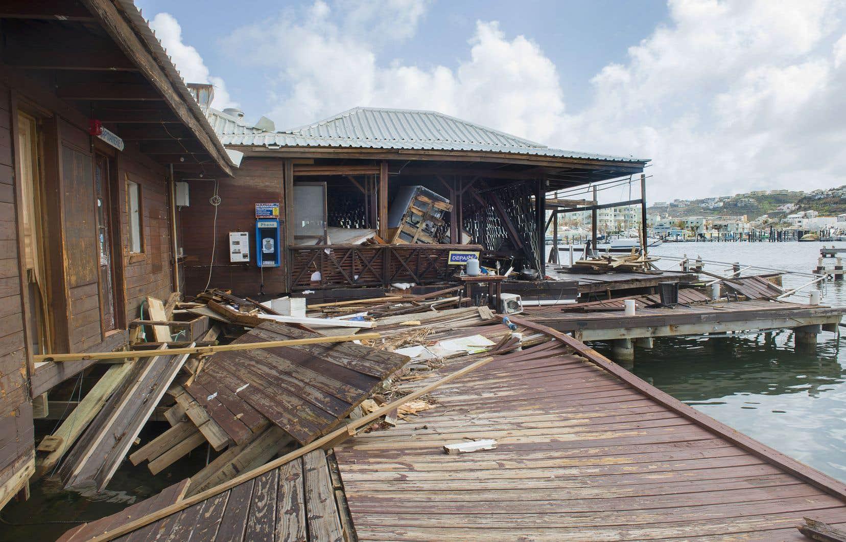 Des dommages causés par l'ouragan «Irma» dans l'île caribéenne de Saint-Martin en 2017