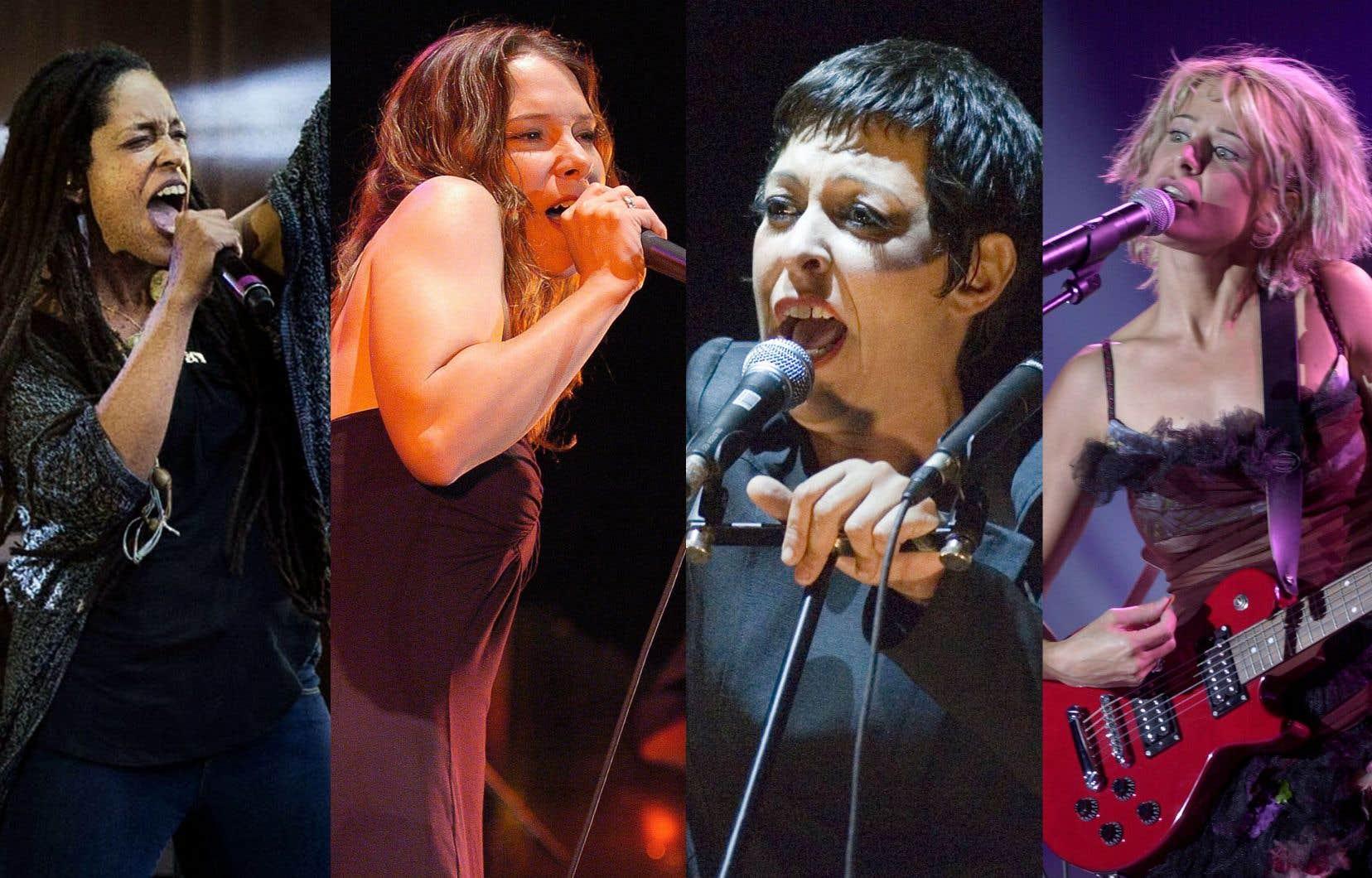 De gauche à droite: J. Kyll (Jenny Saldago) de Muzion,Lhasa de Sela,Betty BonifassietMarie-Jo Thério
