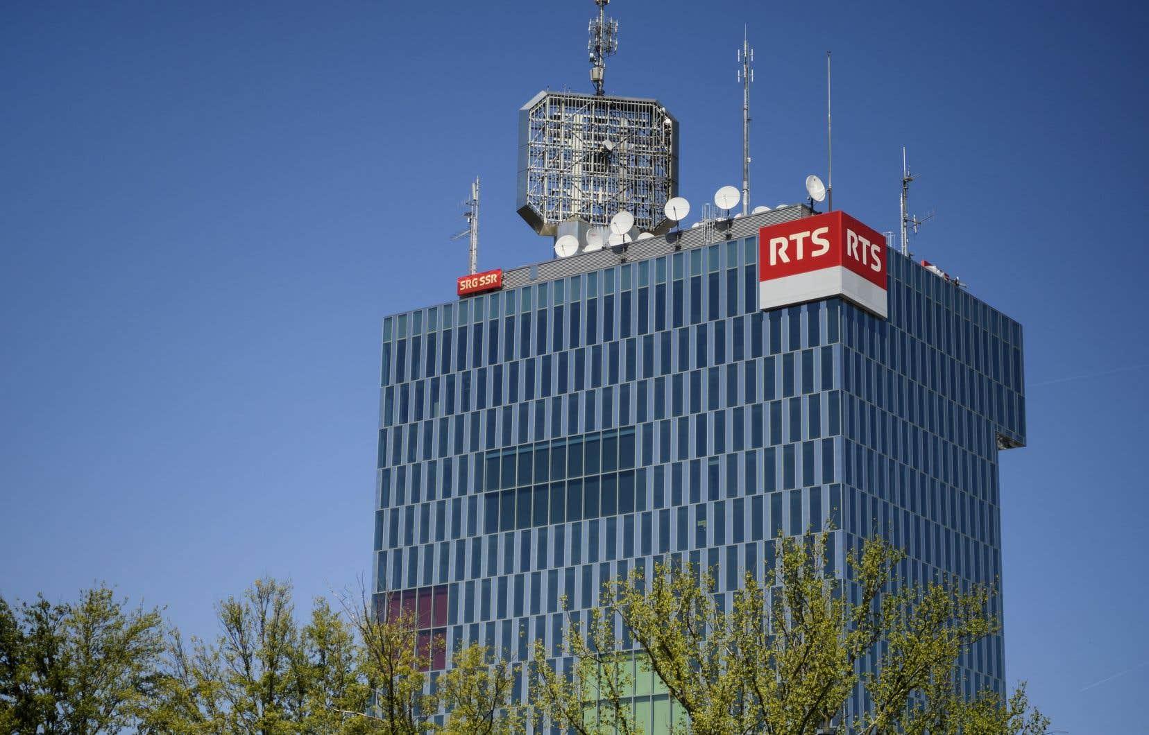 La tour de Radio télévision suisse, à Genève