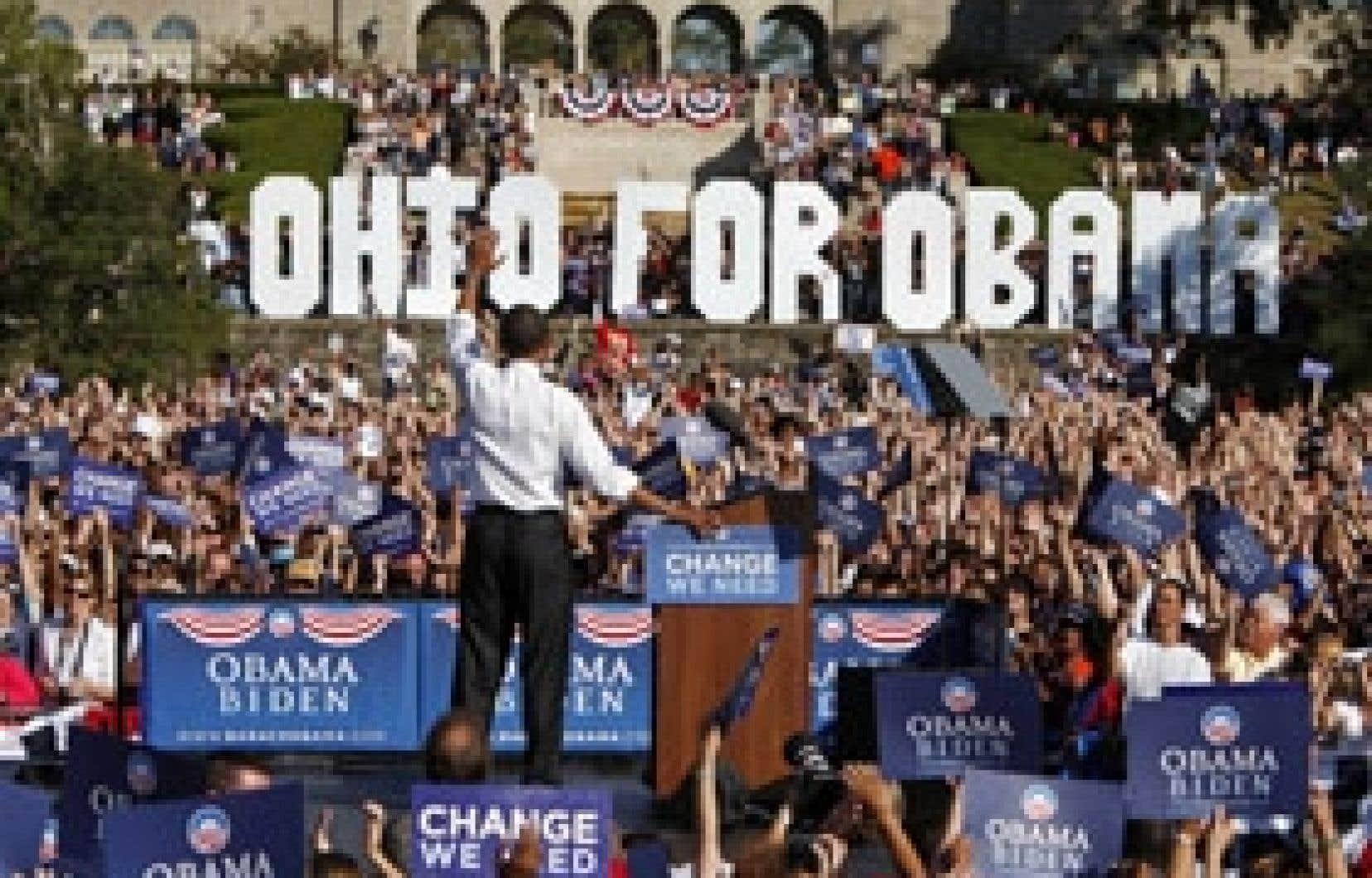 Le candidat démocrate Barack Obama en campagne en Ohio