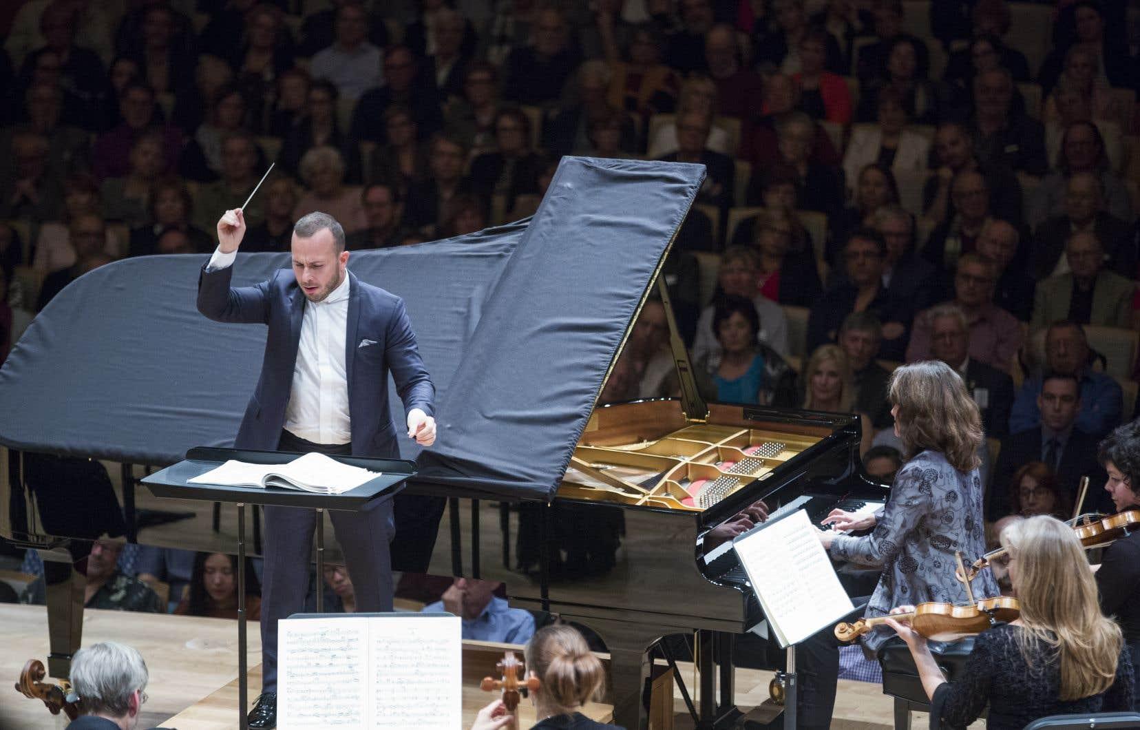 Le chef Yannick Nézet-Séguin et la pianiste Hélène Grimaud, en octobre 2016