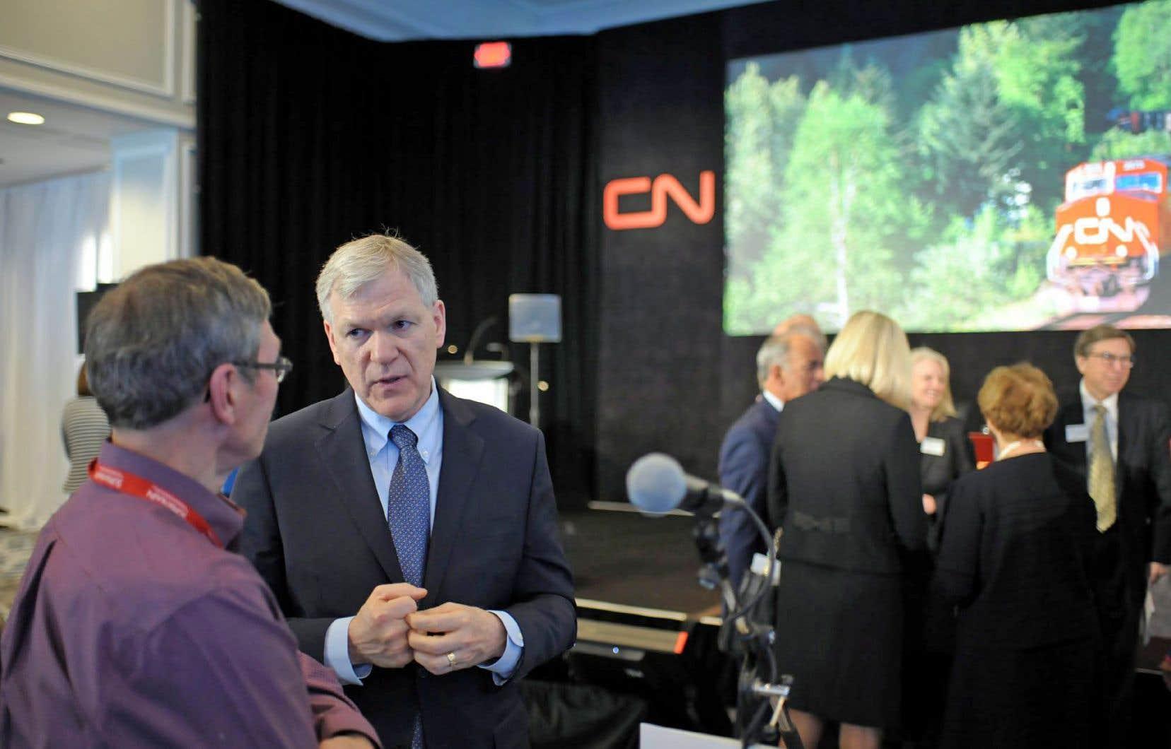 Le président-directeur général qui a été remercié, Luc Jobin, lors de l'assemblée générale du CN à Regina en 2017