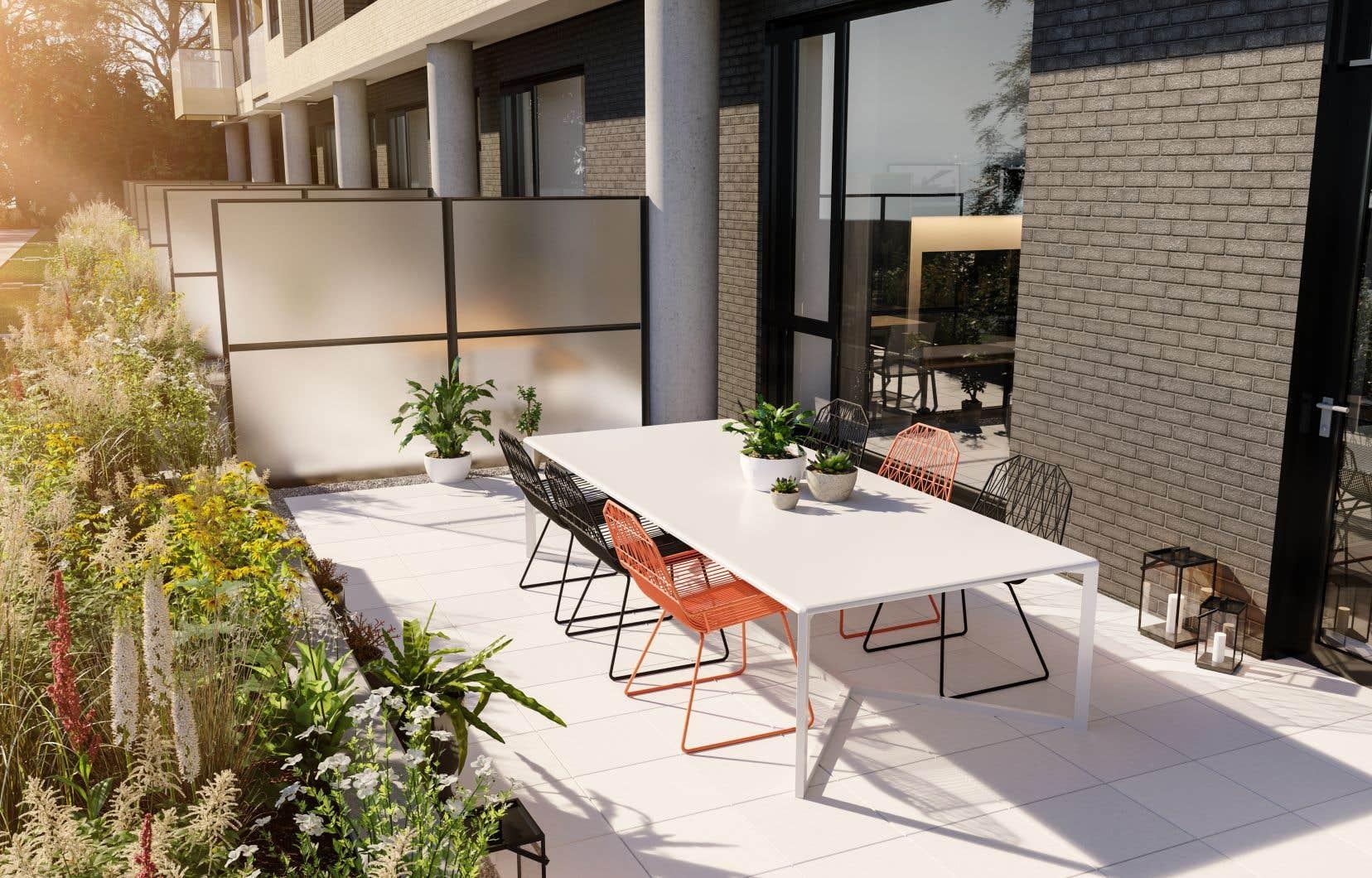 Vue sur une terrasse du projet immobilier U31