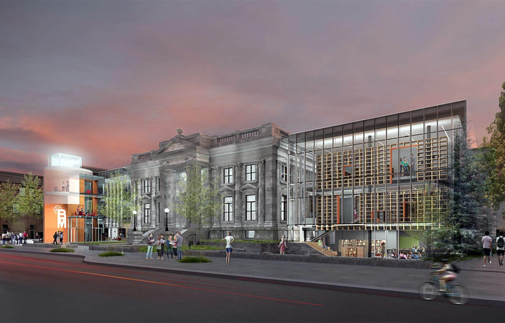 Projection de l'agrandissement de la bibliothèque Maisonneuve avec ses deux annexes vitrées
