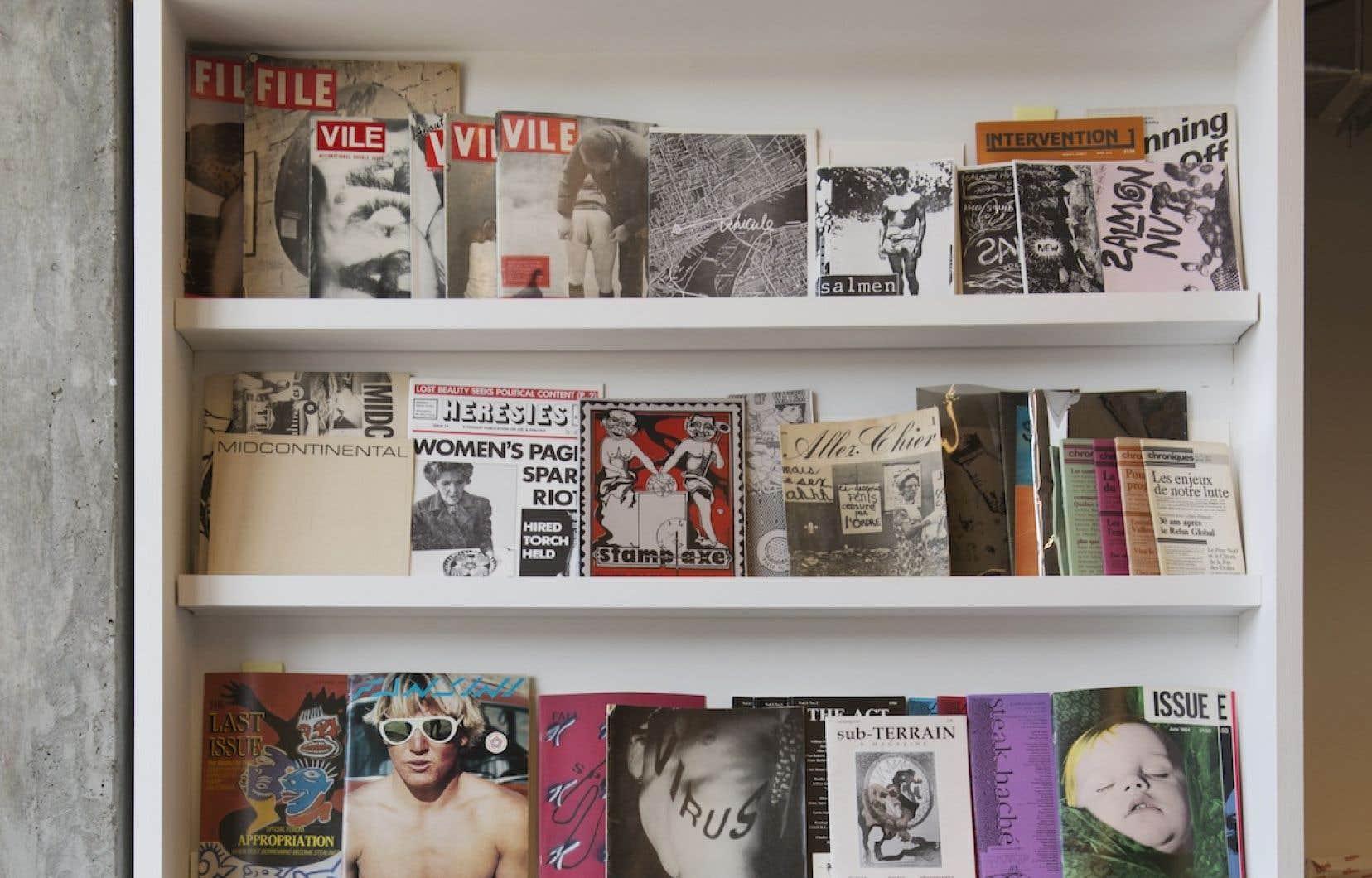 Une sélection de revues «underground» trouvées par Michael Blum et présentées chez Artexte.