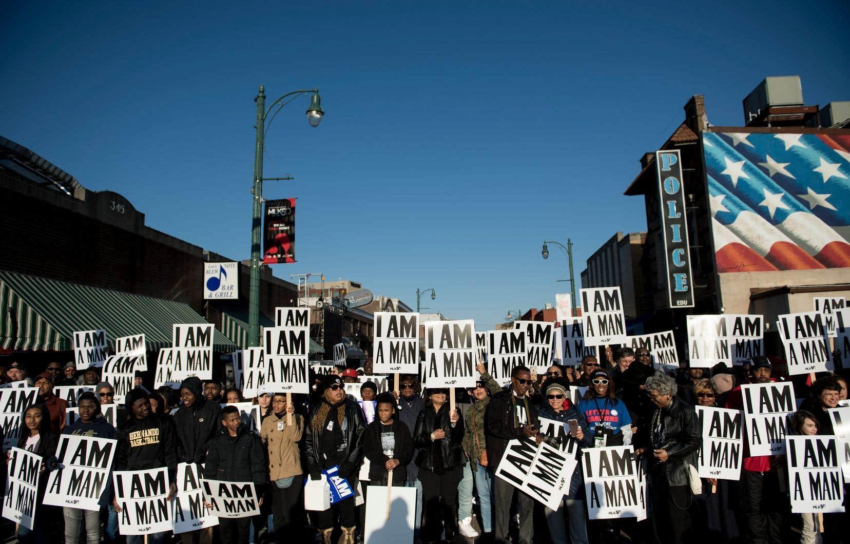Un rassemblement en hommage à Martin Luther King, 50 ans après son assassinat, à Memphis, mercredi