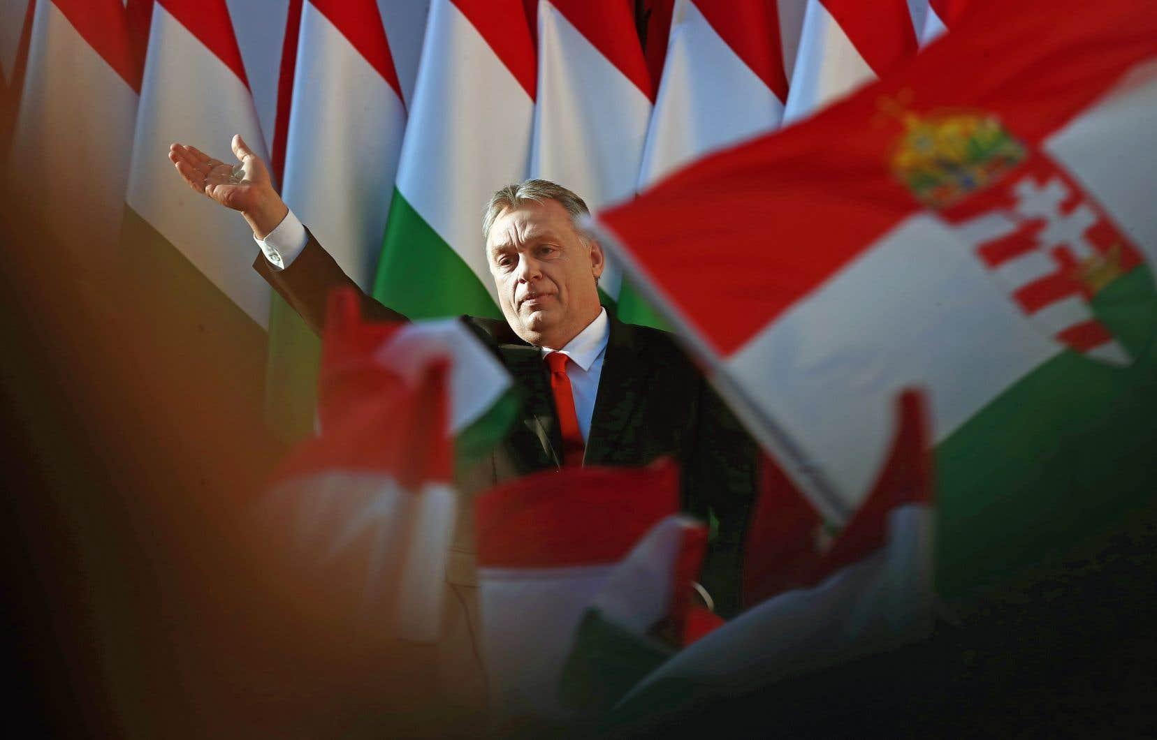 Le premier ministre hongrois a livré un discours pendant la dernière étape de sa campagne électorale, le 6avril, dans la ville de Szekesfehervar.