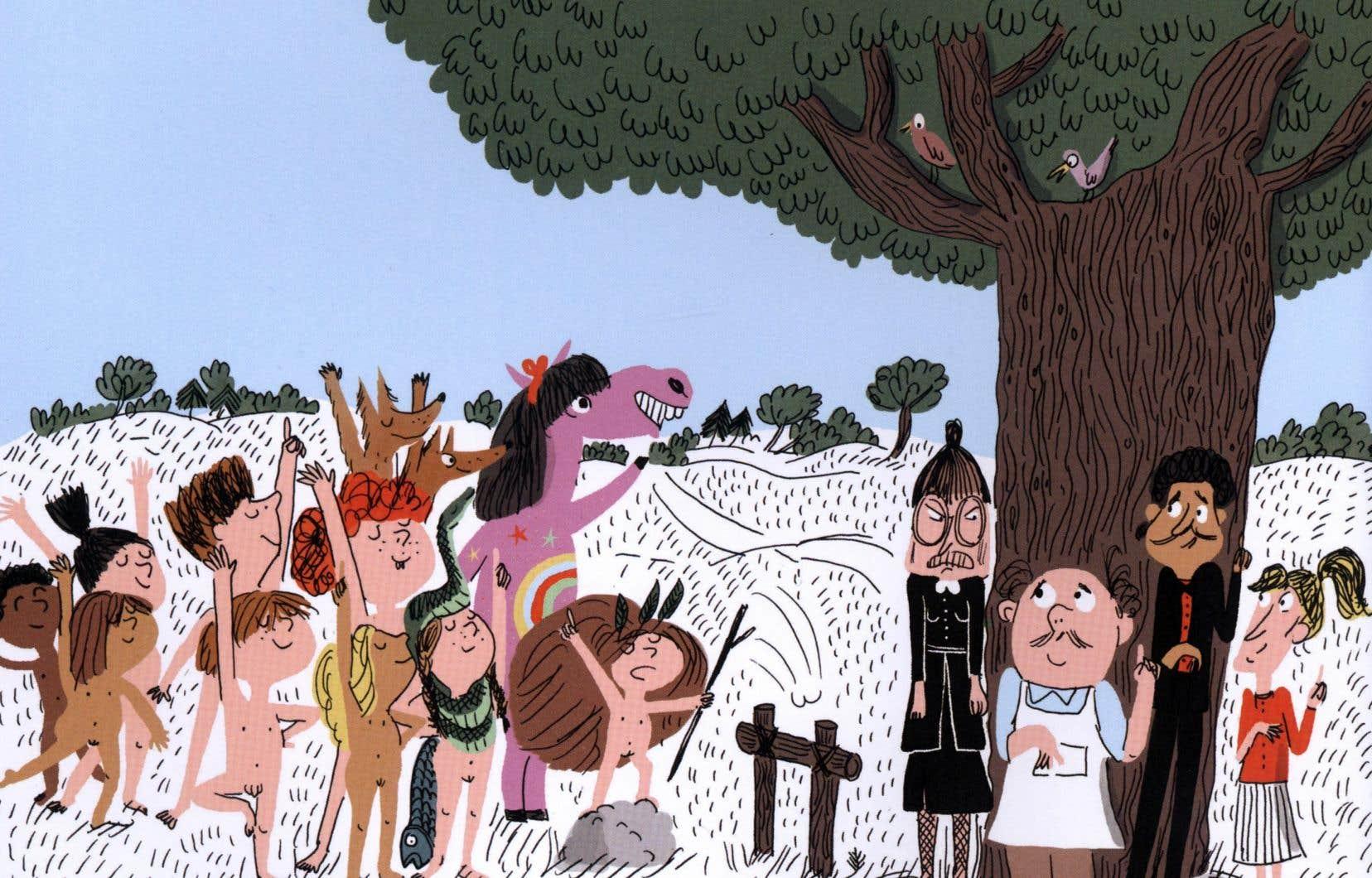 Dans «La tribu qui pue», publié par La courte échelle, un groupe d'enfants un peu effrontés vivent des aventures entièrement nus.