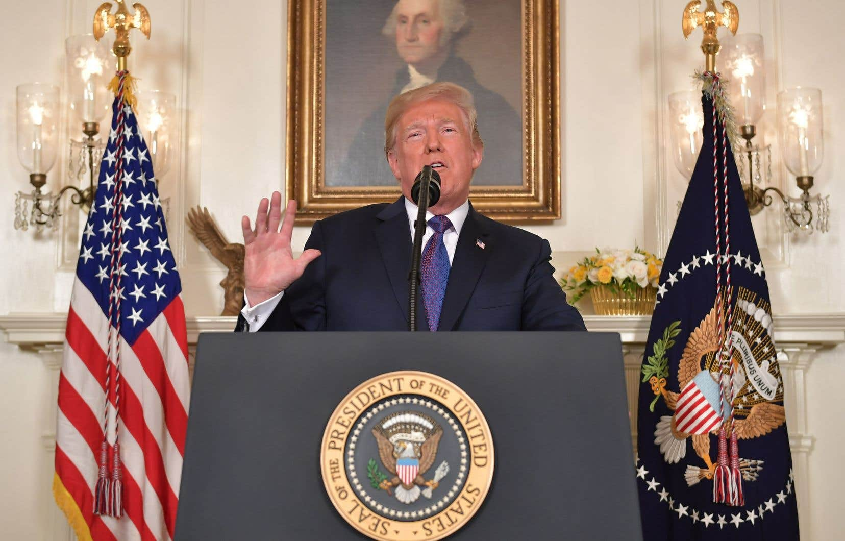 Le président américain, Donald Trump, lors de sa déclaration sur la Syrie, vendredi soir, à la Maison-Blanche