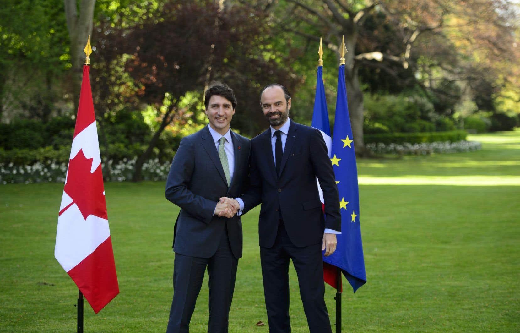 Justin Trudeau en compagnie du premier ministre français Édouard Philippe.