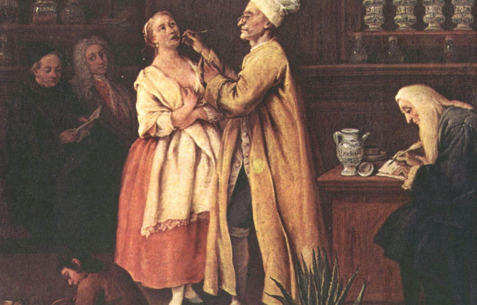 Scène dans une pharmacie vénitienne vers 1752. Un médecin, coiffé d'un bonnet, examine une patiente pendant qu'un pharmacien écrit une ordonnance.