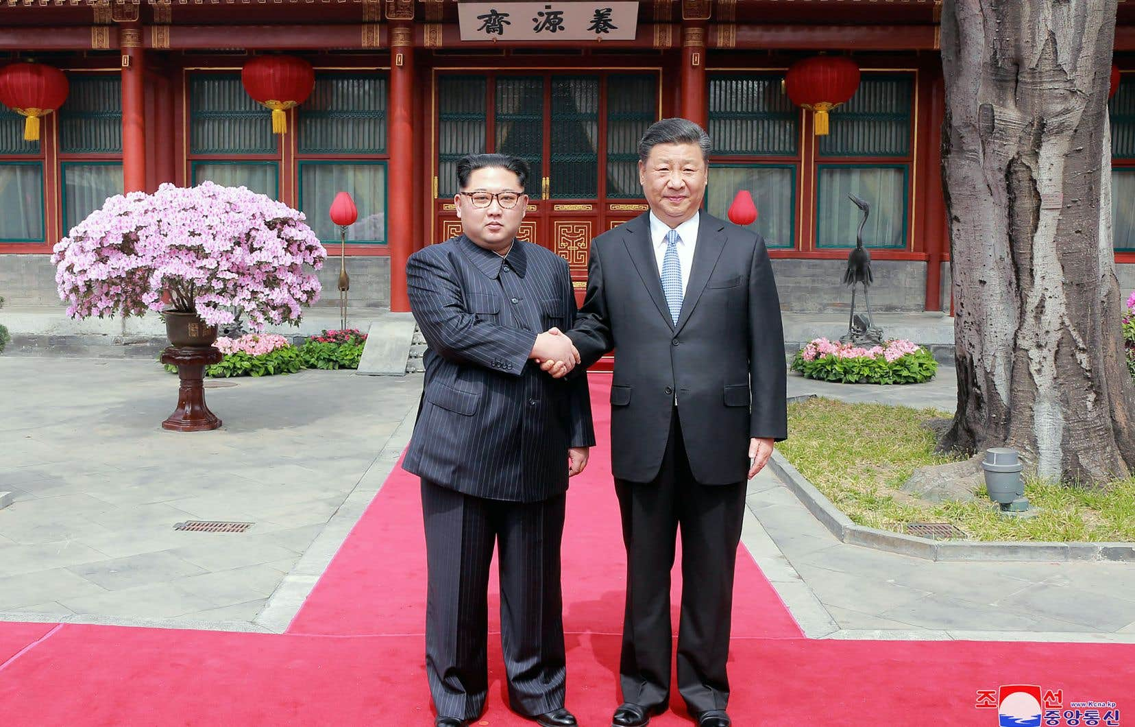 Kim Jong-un lors de son passage en Chine, le 28mars, pour y rencontrer le président Xi Jinping
