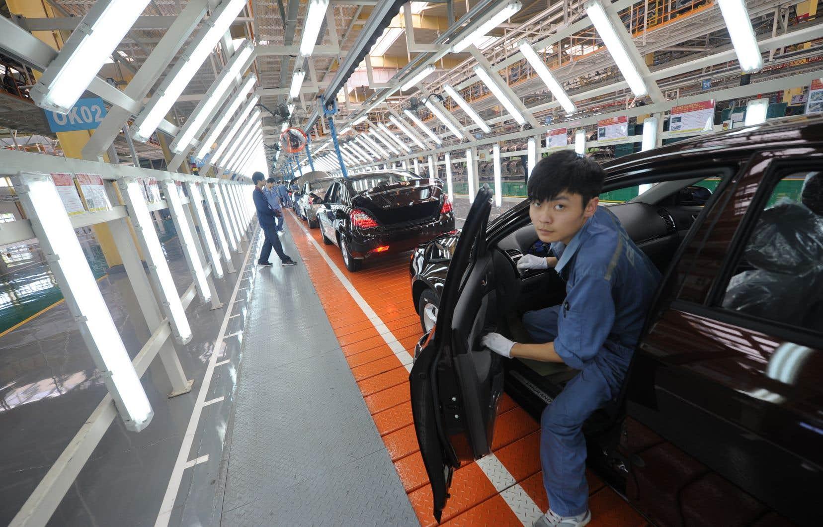 Ligne de montage de l'usine Geely, en Chine