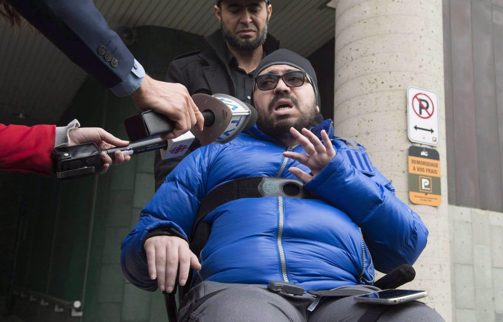 Aymen Derbali a perdu l'usage de ses jambes après avoir été atteint de sept balles par Alexandre Bissonnette.