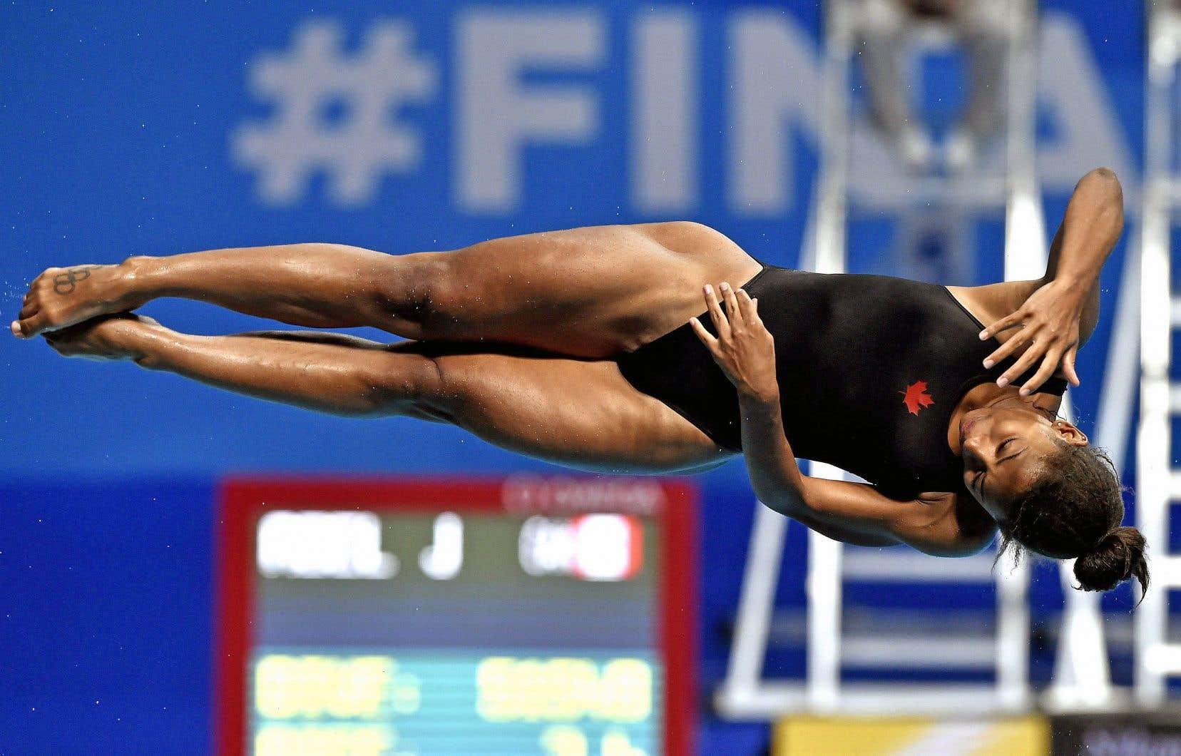 Jennifer Abel lors de la demi-finale au tremplin de 3 mètres individuel du championnat mondial de natation de la FINA, à Budapest en Hongrie, en juillet dernier