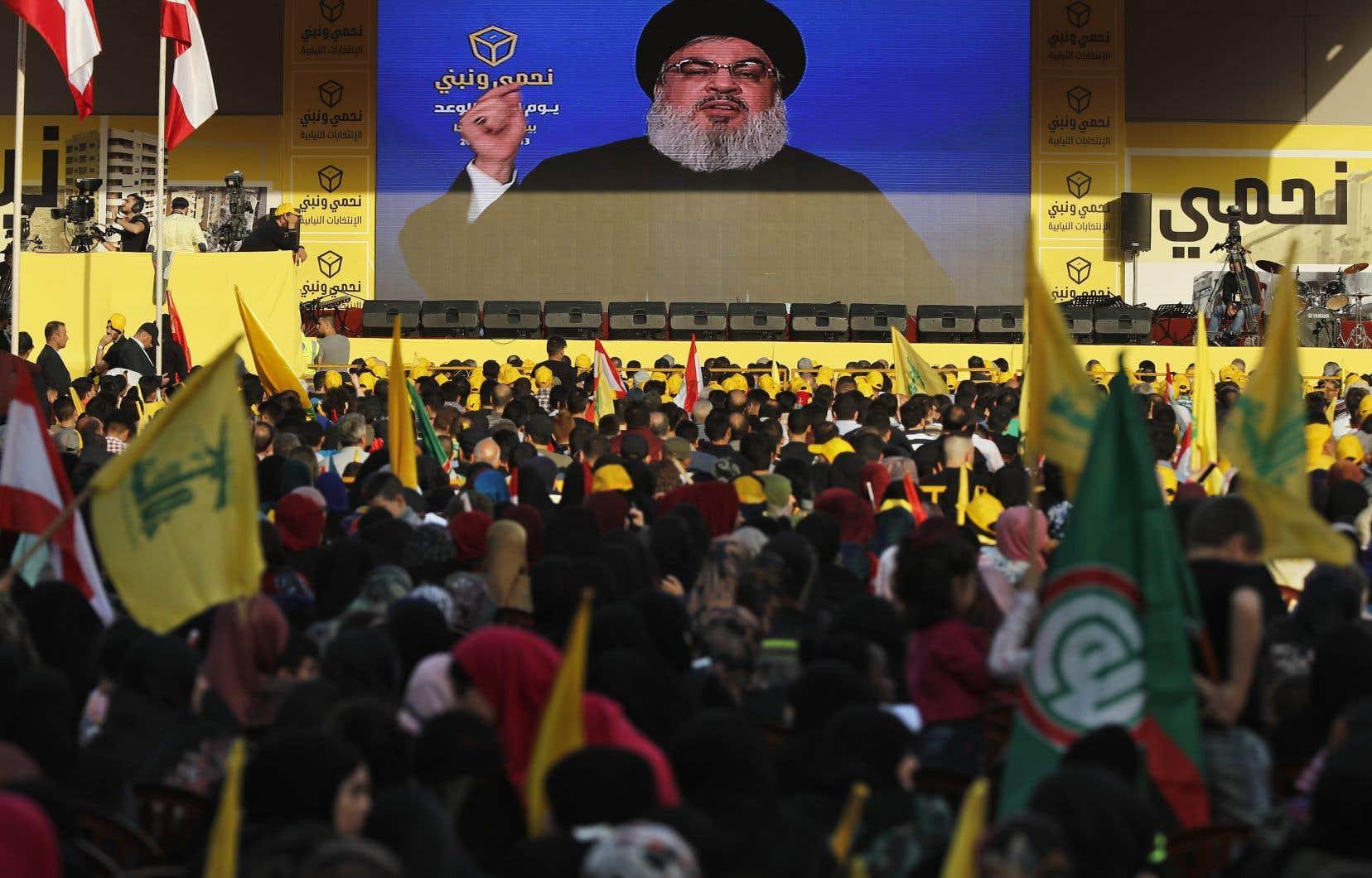 Le chef du Hezbollah, Hassan Nasrallah, lors d'un discours le 13 avril dernier