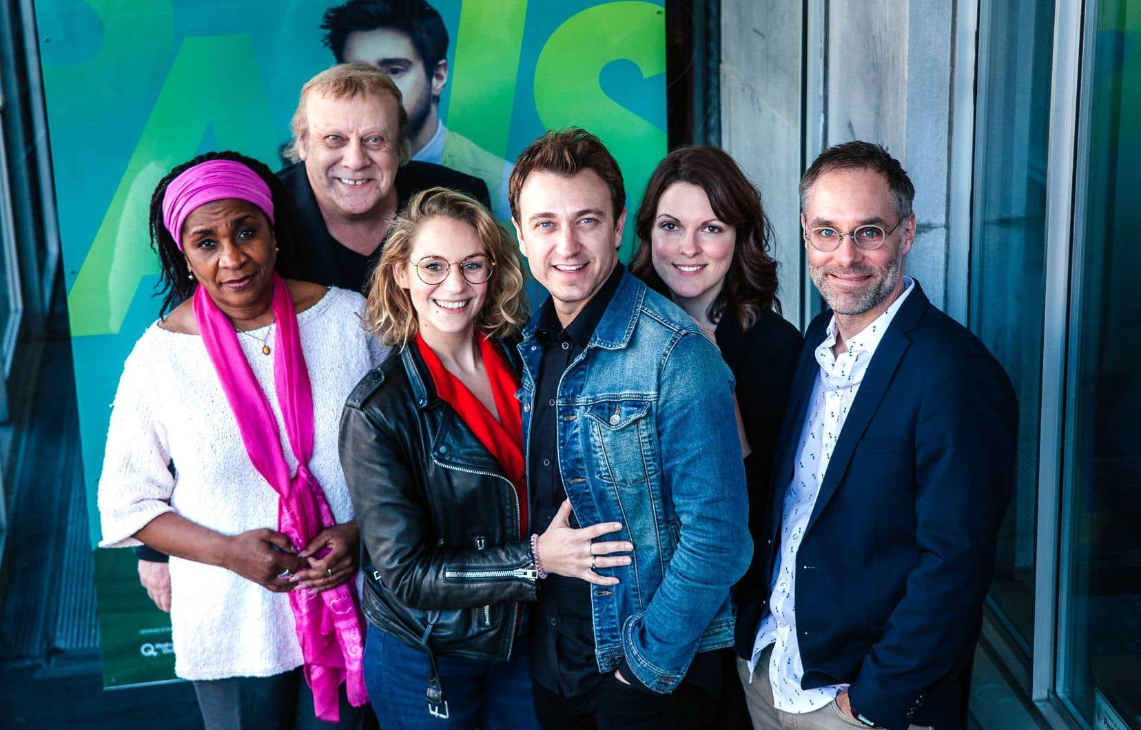 De gauche à droite: Mireille Métellus, Pierre Lebeau, Léane Labrèche-Dor, Benoît McGinnis, Rachel Graton et Sylvain Bélanger.