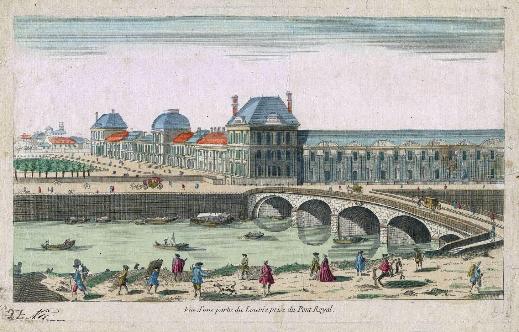 «Vue d'une partie du Louvre prise du pont Royal» (XVIIIesiècle)